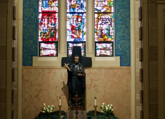 St. Paul of the Cross – Pray For Us. Feast Day Meditation Before a Stained-Glass Window of this Passionist saint at St. Joseph's Monastery Parish Church, Baltimore, Maryland.